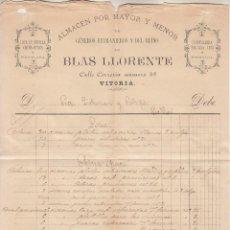 Cartas comerciales: ,,,PEDIDO MANUSCRITO DE BLAS LLORENTE, VITORIA A FÁBRICA LOZA LA CARTUJA. Lote 244554910
