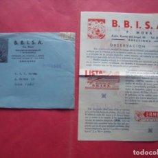 Cartas comerciales: FRANCISCO MORA.-BBISA.-CARTA COMERCIAL.-BARCELONA.. Lote 244583720