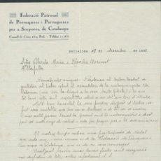Cartas comerciales: CARTA FEDERACIO PATRONAL AÑO 1933 DE PERRUQUERS I PERRUQUERES DE CATALUÑA. Lote 36115667