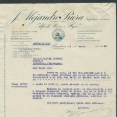 Cartas comerciales: ANTIGUA CARTA COMERCIAL ALEJANDRO RIERA AÑO 1932 BARCELONA INGENIERO QUIMICO. Lote 244607460
