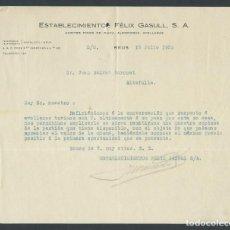 Cartas comerciales: ANTIGUA CARTA COMERCIAL ESTABLECIMIENTOS FELIX GASULL AÑO 1932 FIRMADA. Lote 244608335