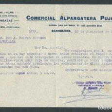 Cartas comerciales: ANTIGUA CARTA COMERCIAL ALPARGATERA PUJOS AÑO 1932 BARCELONA FIRMADA. Lote 244608785