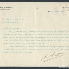 Cartas comerciales: ANTIGUA CARTA COMERCIAL J.L. OLIVA DE SUELVES AÑO 1932 BARCELONA FIRMADA INGENIERO INDUSTRIAL. Lote 244610090