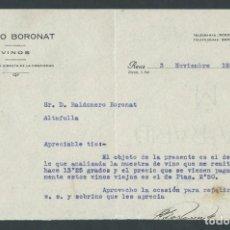 Cartas comerciales: ANTIGUA CARTA COMERCIAL PABLO BORONAT VINOS AÑO 1931 REUS FIRMADA. Lote 244610975