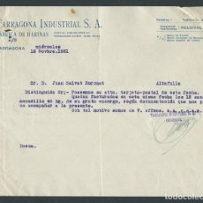 Cartas comerciales: ANTIGUA CARTA COMERCIAL TARRAGONA INDUSTRIAL AÑO 1931 TARRAGONA FIRMADA. Lote 244611340