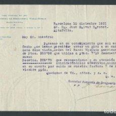 Cartas comerciales: ANTIGUA CARTA COMERCIAL DROGUERIA VIDAL RIBAS AÑO 1931 BARCELONA FIRMADA. Lote 244611790
