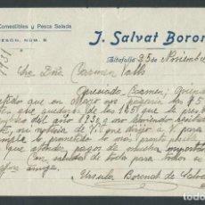 Cartas comerciales: ANTIGUA CARTA COMERCIAL SALVAT BORONAT AÑO 1931 ALTAFULLA FIRMADA PESCA SALADA TOCINERIA. Lote 244612070