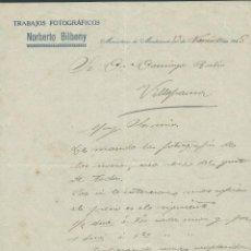 Cartas comerciales: ANTIGUA CARTA COMERCIAL DE FOTOGRAFO NORBERTO BILBENY MONASTERIO DE MONTSERRAT AÑO 1928 FIRMADA. Lote 244619755