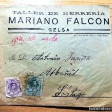 Cartas comerciales: SOBRE TALLER HERRERIA MARIANO FALCON GELSA ZARAGOZA SELLOS ALFONSO XII DIRIGIDO A SASTAGO. Lote 244844425