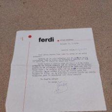 Cartas comerciales: CARTA ESCRITA POR EL CANTANTE ITALIANO FERDI......1964... Lote 244994080