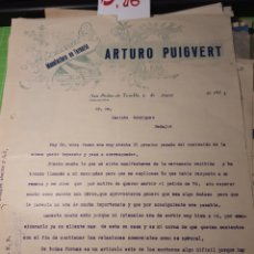 Cartas comerciales: ARTURO PUIGVERT. SAN PEDRO DE TORELLO.1931. Lote 245648110