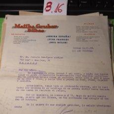 Cartas comerciales: MAFFHS GRUYERE. BILBAO 1938. Lote 245649715