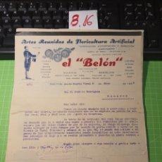 Cartas comerciales: EL BELON MADRID 1935. Lote 246158605