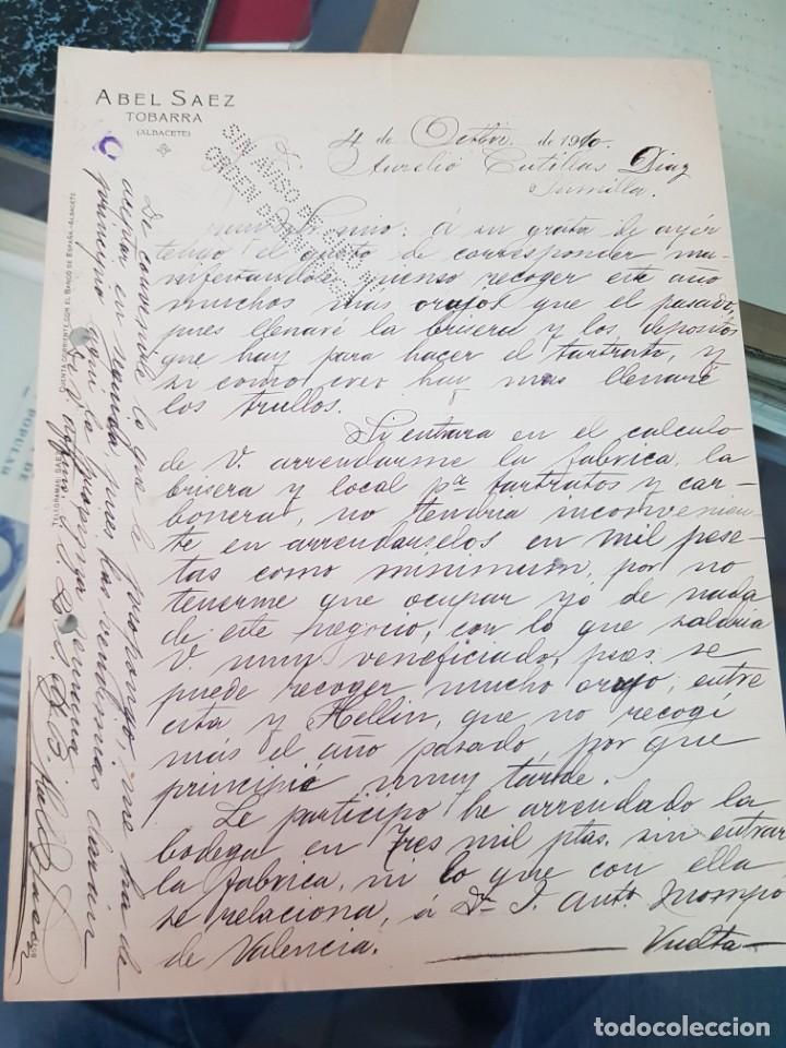 ANTIGUA CARTA COMERCIAL ABEL SAEZ TOBARRA ALBACETE 1910 (Coleccionismo - Documentos - Cartas Comerciales)