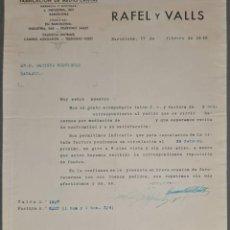 Cartas comerciais: CARTA COMERCIAL. RAFEL Y VALLS. FABRICACIÓN DE MEDIO CRISTAL. BARCELONA. ESPAÑA 1945. Lote 251517595