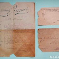 Cartas comerciales: CARTA COMERCIAL 1915 GUILLERMO RAMOS TARJETA POSTAL Y SOBRE CON SELLO DE 1/4 1876 SABADELL BARCELONA. Lote 252920400
