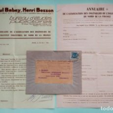 Cartas comerciales: CARTA COMERCIAL PAUL BABEY HENRY BENSSON 1934 INGÉNIEUR CIVIL SOBRE CON SELLO DE 1933. Lote 252928090