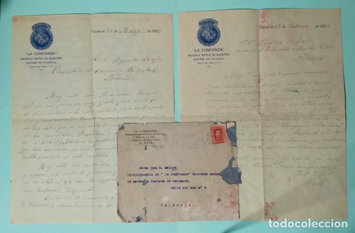 CARTA COMERCIAL AÑO 1927 LA CONFIANZA SOCIEDAD MUTUA DE MAESTROS SASTRES DE VALENCIA CON SOBRE (Coleccionismo - Documentos - Cartas Comerciales)