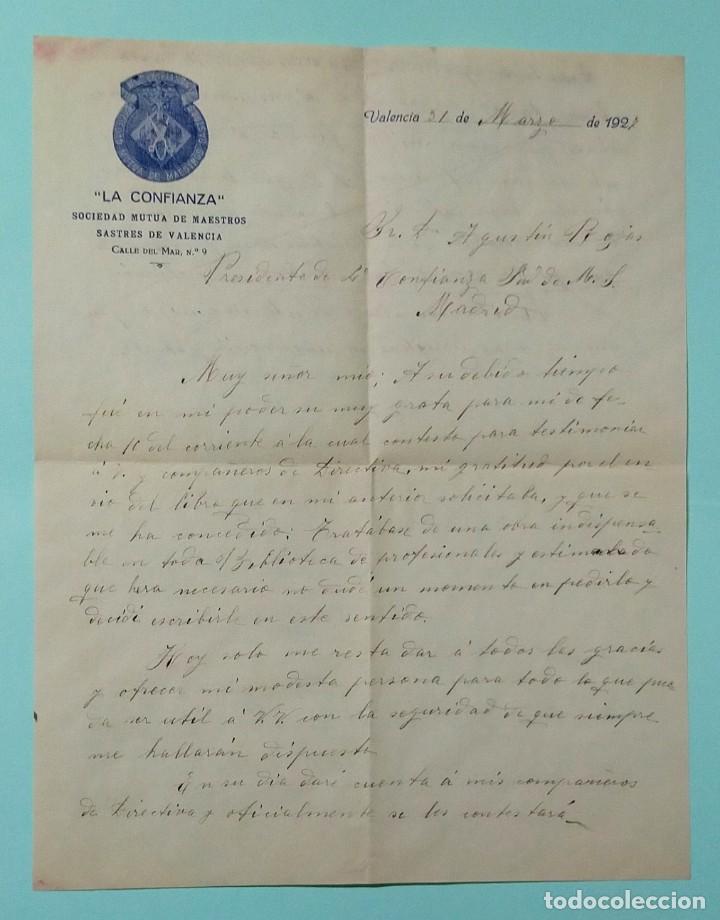 Cartas comerciales: CARTA COMERCIAL AÑO 1927 LA CONFIANZA SOCIEDAD MUTUA DE MAESTROS SASTRES DE VALENCIA CON SOBRE - Foto 2 - 252939010