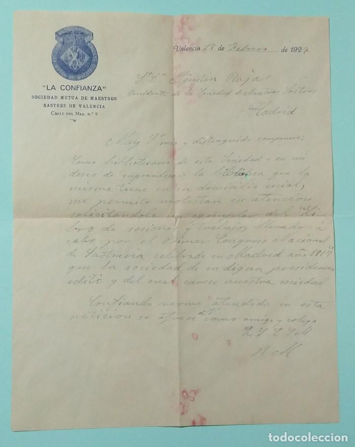 Cartas comerciales: CARTA COMERCIAL AÑO 1927 LA CONFIANZA SOCIEDAD MUTUA DE MAESTROS SASTRES DE VALENCIA CON SOBRE - Foto 4 - 252939010