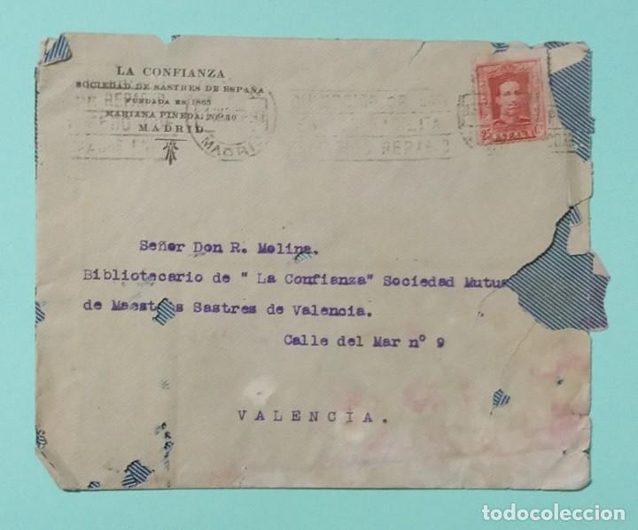 Cartas comerciales: CARTA COMERCIAL AÑO 1927 LA CONFIANZA SOCIEDAD MUTUA DE MAESTROS SASTRES DE VALENCIA CON SOBRE - Foto 6 - 252939010