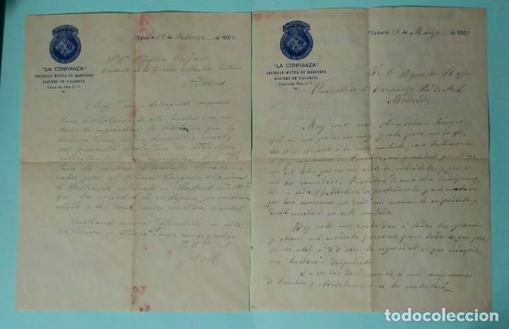 Cartas comerciales: CARTA COMERCIAL AÑO 1927 LA CONFIANZA SOCIEDAD MUTUA DE MAESTROS SASTRES DE VALENCIA CON SOBRE - Foto 8 - 252939010