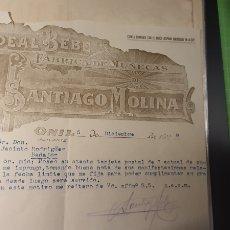 Cartas comerciales: IDEAL BEBE .SANTIAGO MOLINA. ONIL .1929. Lote 253213880
