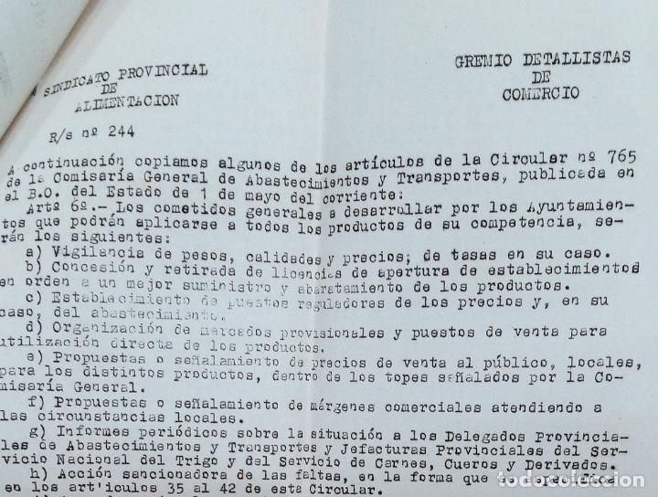 Cartas comerciales: CARTA DEL SINDICATO PROVINCIAL DE ALIMENTACIÓN. GRUPO DETALLISTAS. ALBACETE. AÑOS 50. EN SU SOBRE - Foto 2 - 253805195