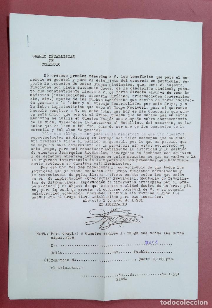 CARTA DEL SINDICATO PROVINCIAL DE ALIMENTACIÓN. GRUPO DETALLISTAS. ALBACETE. AÑOS 50. EN SU SOBRE (Coleccionismo - Documentos - Cartas Comerciales)