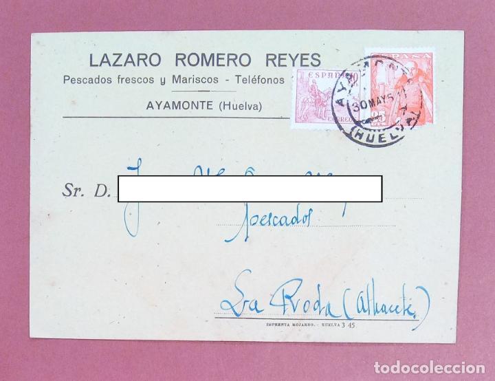 TARJETA FACTURA LÁZARO ROMERO REYES, PESCADOS FRESCOS Y MARISCOS. AYAMONTE HUELVA. 1951 (Coleccionismo - Documentos - Cartas Comerciales)