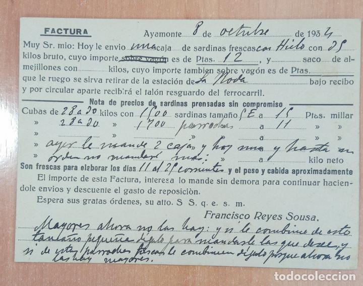 Cartas comerciales: TARJETA FACTURA FRANCISCO REYES SOUSA, PESCADOS FRESCOS Y MARISCOS. AYAMONTE HUELVA. 1934 - Foto 2 - 253812565