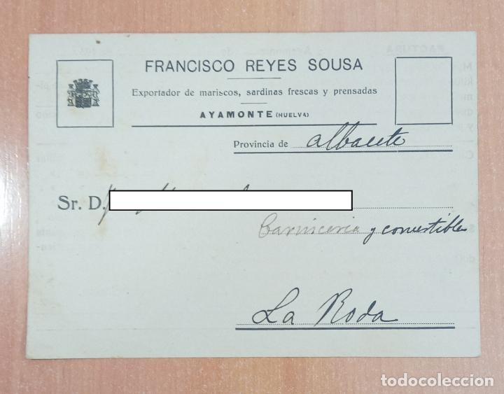 TARJETA FACTURA FRANCISCO REYES SOUSA, PESCADOS FRESCOS Y MARISCOS. AYAMONTE HUELVA. 1934 (Coleccionismo - Documentos - Cartas Comerciales)