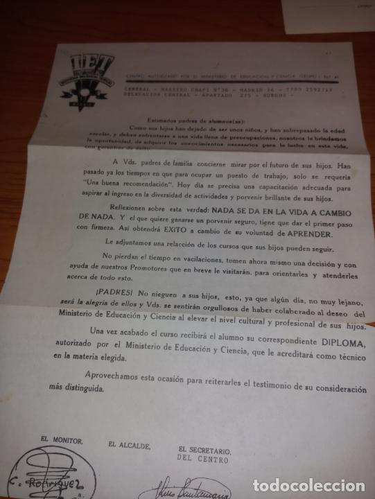 CARTA PRESENTACION DE INSTITUCION ENSEÑANZAS TECNICAS PARA LOS PADRES (Coleccionismo - Documentos - Cartas Comerciales)