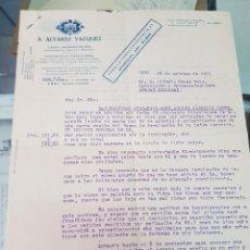 Cartas comerciales: ANTIGUA CARTA COMERCIAL FLEJES CHAPAS PRECINTOS ALVAREZ VÁZQUEZ URBI BASAURI VIZCAYA 1931. Lote 254368310