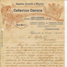 Cartas comerciales: VALENCIA-JUGUETES-QUINCALLA-BISUTERIA-CEFERINO GARCIA (CABEZERA MODERNISTA)-AÑO 1916. Lote 254926375