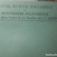 Cartas comerciales: MADRID HOTEL NUEVA NAVARRA ANTONIO ALVAREZ SOBRE CARTA PUBLICIDAD AÑOS 1910. Lote 255306605