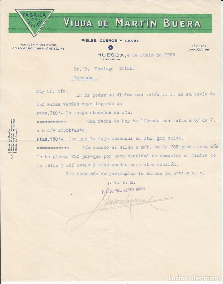 CARTA COMERCIAL DE FABRICA DE CURTIDOS VIUDA DE MARTIN BUERA EN HUESCA 1935 (Coleccionismo - Documentos - Cartas Comerciales)