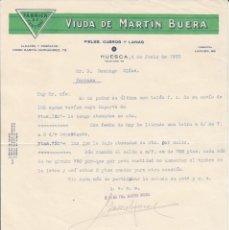 Cartas comerciales: CARTA COMERCIAL DE FABRICA DE CURTIDOS VIUDA DE MARTIN BUERA EN HUESCA 1935. Lote 255428335