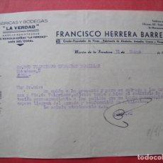 Cartas comerciales: FRANCISCO HERRERA BARRERA.-VINOS.-ALCOHOLES.-ANISADOS.-LICORES.-VINAGRES.-MORON DE LA FRONTERA.-1947. Lote 257879080