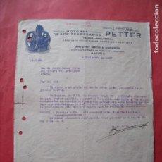 Cartas comerciales: ANTONIO MEDINA ESPERON.-MOTORES.-ACEITES.-PETTER.-YEOVIL.-INGLATERRA.-MADRID.-AÑO 1927.. Lote 257884400