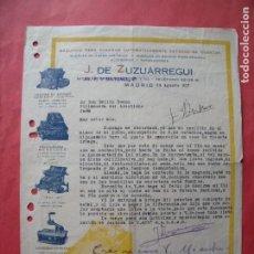 Cartas comerciales: J. DE ZUZUARREGUI.-MAQUINAS DE ESCRIBIR.-CALCULADORAS.-CARTA COMERCIAL.-MADRID.-AÑO 1927.. Lote 257884735