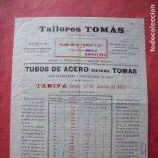 Cartas comerciales: TALLERES TOMAS.-TUBOS DE ACERO.-DISTRIBUCION DE AGUA.-CARTA COMERCIAL.-VILLANUEVA Y GELTRU.-AÑO 1909. Lote 257888520