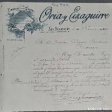 Lettres commerciales: CARTA COMERCIAL. ORIA Y EIZAGUIRRE. ALMACÉN AL POR MAYOR DE QUINCALLA. SAN SEBASTIÁN 1909. Lote 260441080
