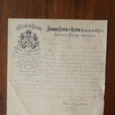 Cartas comerciais: CARTA COMERCIAL 1887 CONSERVAS AL ESCUDO DE ESPAÑA - ANTONIO ESTEVA Y OLIVER - PALMA ( MALLORCA ). Lote 261899730