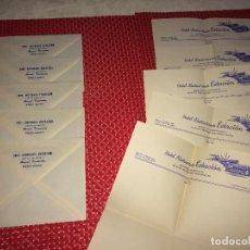 Cartas comerciales: HOTEL RESTAURANTE ESTACION - VIGO ( ESPAÑA ) - LOTE 6 SOBRES Y 6 CARTAS - AÑOS 30-40. Lote 262002035