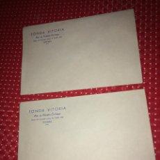 Cartas comerciales: FONDA VITORIA - HIJA DE VALENTÍN CARRANZA - VITORIA ( ALAVA ) - LOTE DE 2 SOBRES - AÑOS 30. Lote 262007615