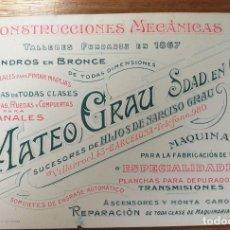 Cartas comerciales: TARJETA PUBLICITARIA, CONSTRUCCIONES MECANICAS, MATEO GRAU, BARCELONA. Lote 262052505