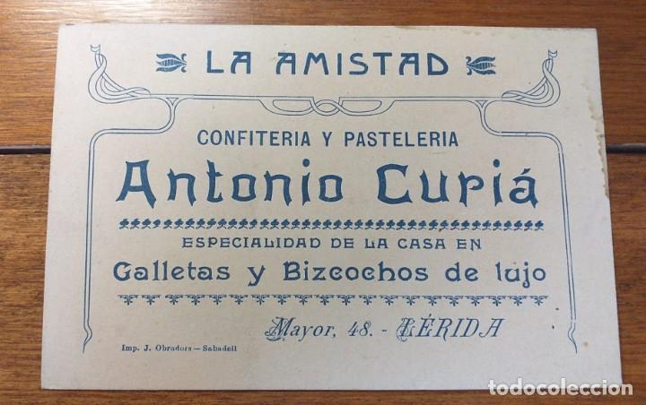 TARJETA PUBLICITARIA, LA AMISTAD, CONFITERIA Y PASTELERIA, ANTONIO CURIA, LERIDA. (Coleccionismo - Documentos - Cartas Comerciales)