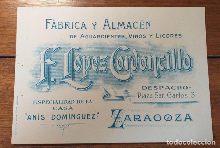 TARJETA PUBLICITARIA, FABRICA ALMACEN DE AGUARDIENTES VINOS Y LICORES, LOPEZ CORDONCILLO, ZARAGOZA. (Coleccionismo - Documentos - Cartas Comerciales)