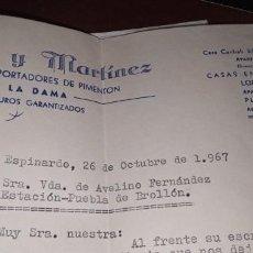 Cartas comerciales: CORRESPONDENCIA COMERCIAL MENGUAL Y MARTÍNEZ PIMENTÓN MURCIA. Lote 262058725